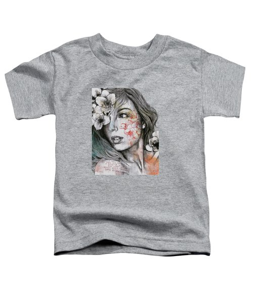 Mascara - Expressive Female Portrait With Freesias Toddler T-Shirt
