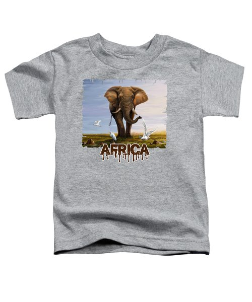 Elephant And Cattle Egrets Toddler T-Shirt