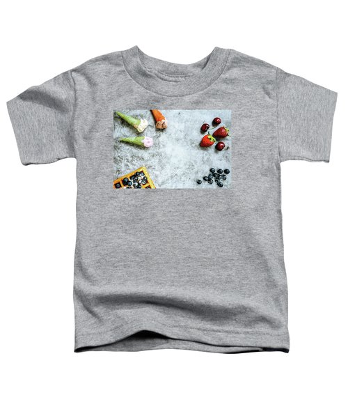 Background Of Tasty And Sweet Foods With Red Fruits And Waffles, Toddler T-Shirt