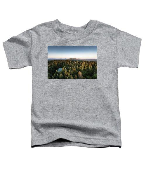 Balsam Lake Mountain Sunset Moon Toddler T-Shirt
