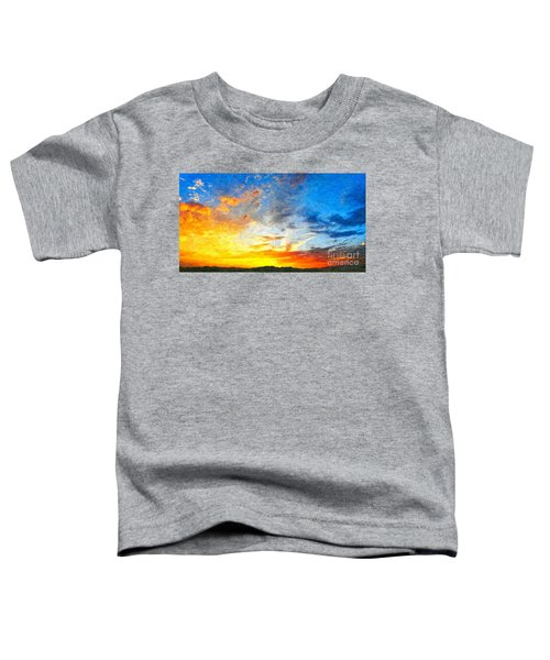 Beautiful Sunset In Landscape In Nature With Warm Sky, Digital A Toddler T-Shirt