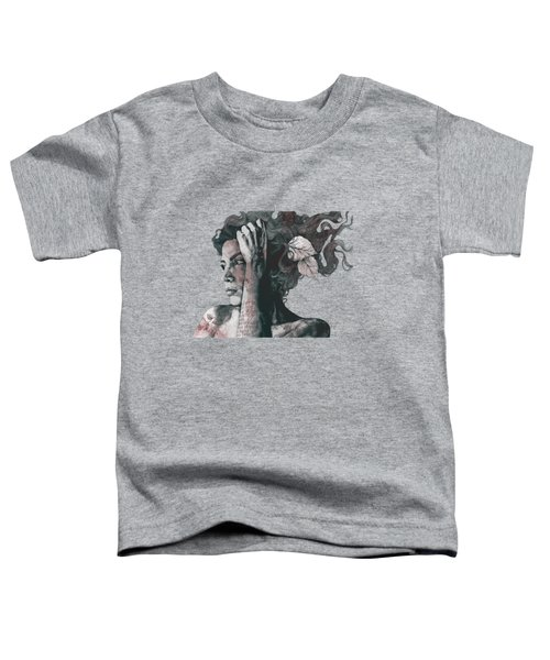 Beneath Broken Earth - Red Wine - Street Art Drawing, Woman With Leaves And Tattoos Toddler T-Shirt