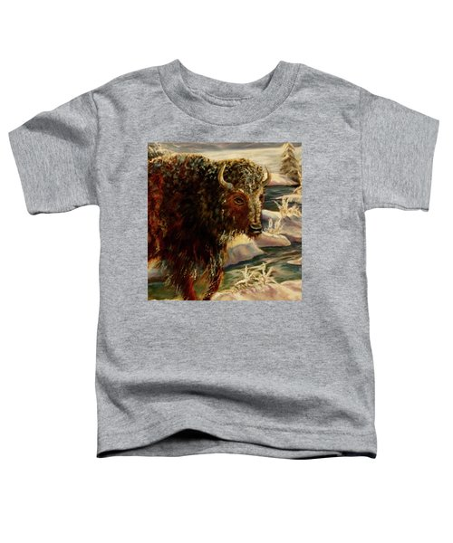 Bison In The Depths Of Winter In Yellowstone National Park Toddler T-Shirt