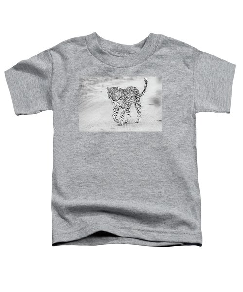 Black And White Leopard Walking On A Road Toddler T-Shirt