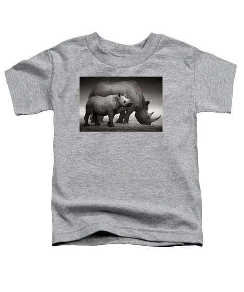 Black Rhinoceros Baby And Cow Toddler T-Shirt