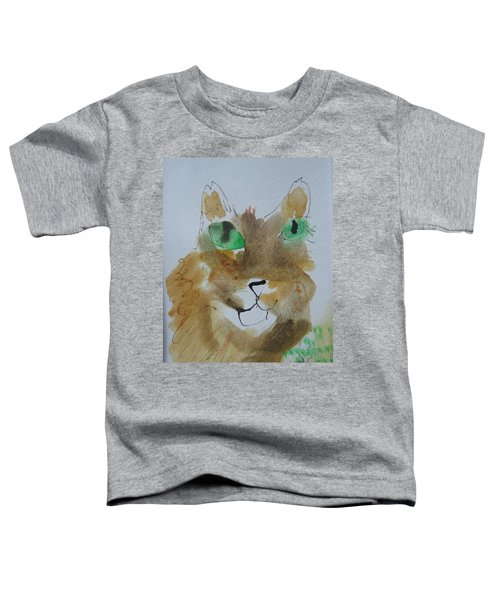 Cat Face Yellow Brown With Green Eyes Toddler T-Shirt