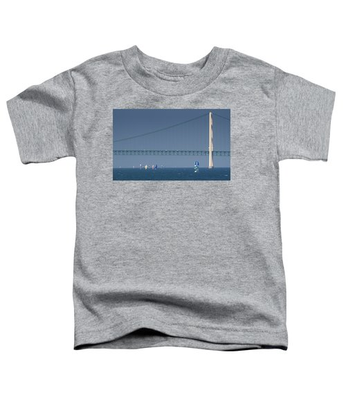 Chicago To Mackinac Yacht Race Sailboats With Mackinac Bridge Toddler T-Shirt