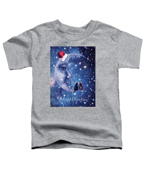 Christmas Card With Smiling Moon And Cats Toddler T-Shirt