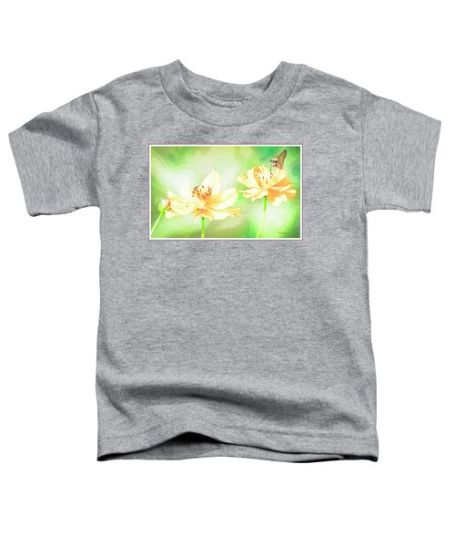 Cosmos Flowers, Bud, Butterfly, Digital Painting Toddler T-Shirt