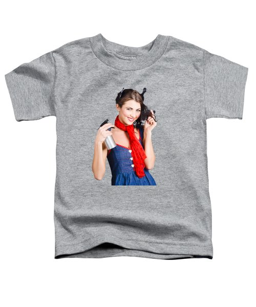 Cute Girl Model Styling A Hairdo. Pinup Your Hair Toddler T-Shirt