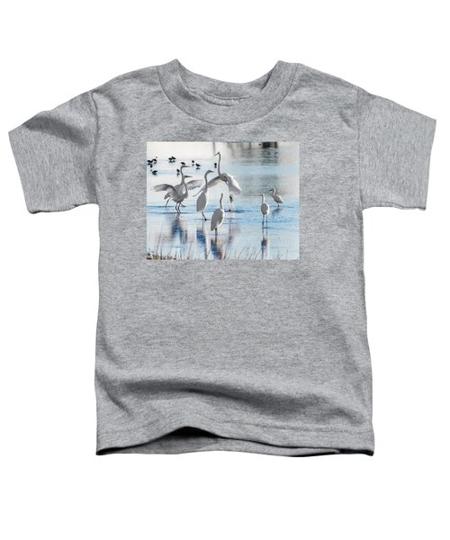 Toddler T-Shirt featuring the photograph Egret Ballet 1400 by Donald Brown