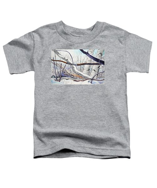 Fallen Birch Trees After The Snowstorm In Watercolor Toddler T-Shirt
