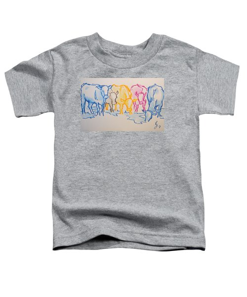 Five Cows Five Colors Watercolor Line Drawing Toddler T-Shirt