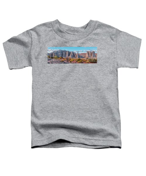 Golden Hour Fall Panorama Of Plaza Blanca - Abiquiu Rio Arriba County New Mexico Toddler T-Shirt