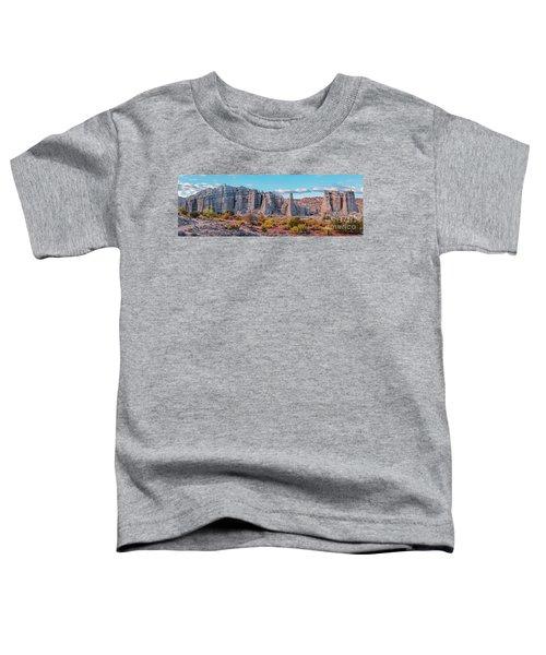 Golden Hour Fall Panorama Of Plaza Blanca - Abiquiu Rio Arriba County New Mexico Toddler T-Shirt