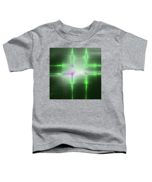 Green Aluminum Sparkling Surface. Metallic Geometric Abstract Fashion Background. Toddler T-Shirt