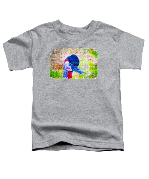 Grey Crowned Crane Watercolor Drawing Toddler T-Shirt