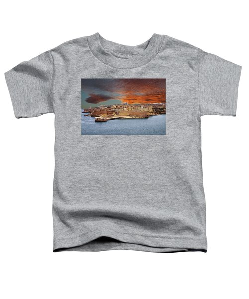 Looking Across Harbor From Fort St Elmo To  Fort Rikasoli Toddler T-Shirt
