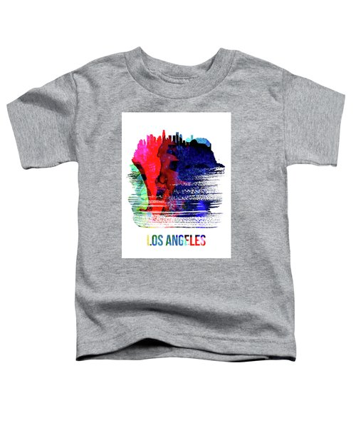 Los Angeles Skyline Brush Stroke Watercolor   Toddler T-Shirt