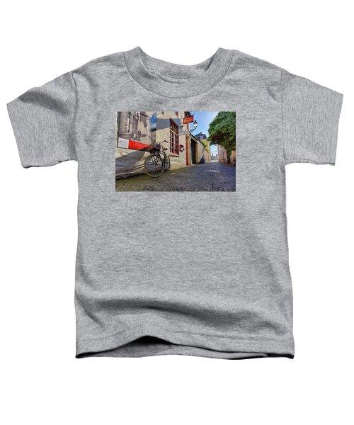 Lux Cobblestone Road Brugge Belgium Toddler T-Shirt