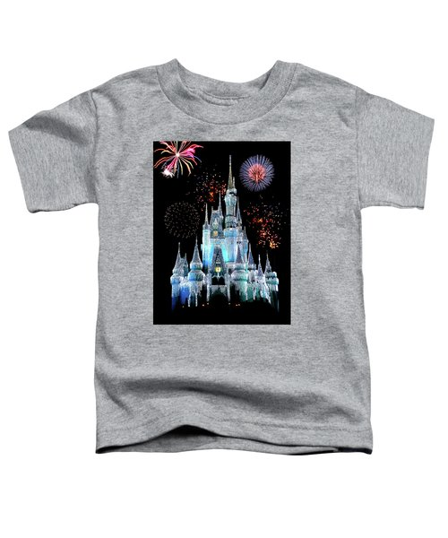 Magic Kingdom Castle In Frosty Light Blue With Fireworks 06 Toddler T-Shirt
