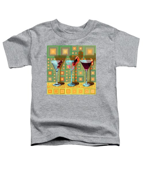 Mid Century Modern Abstract Mcm Three Martinis Shaken Not Stirred 20190127 V1 Square Toddler T-Shirt