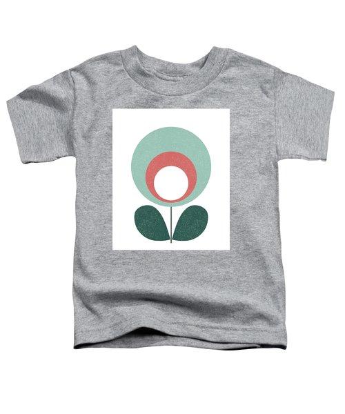 Mid Century Modern Teal Flower 3 Toddler T-Shirt