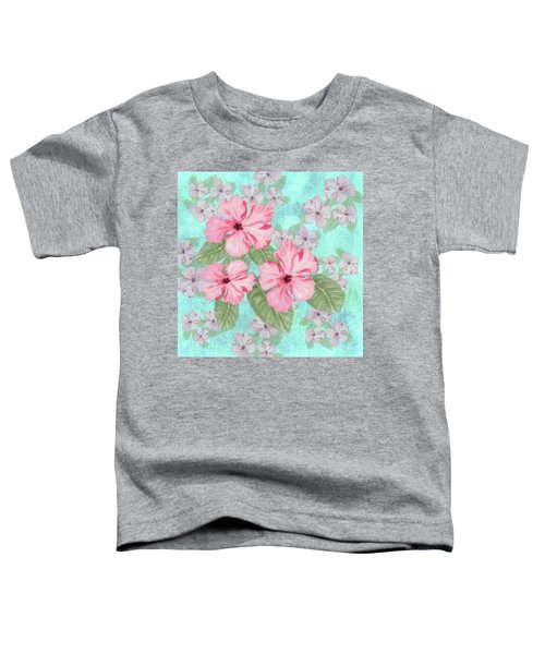 Pink Hibiscus Print On Aqua Toddler T-Shirt