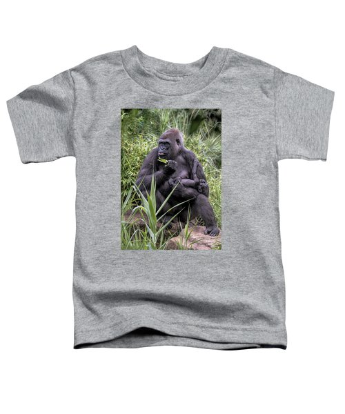 Toddler T-Shirt featuring the photograph Proud Mama Silverback 6243 by Donald Brown