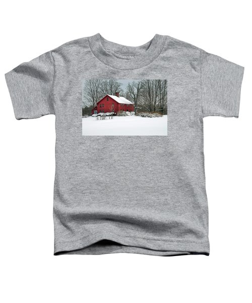 Red New England Colonial In Winter Toddler T-Shirt