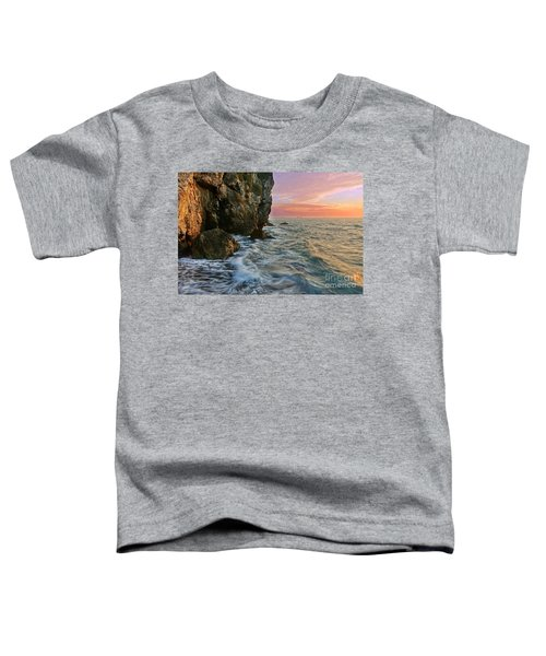 Rocky Cliffs And Waves During Sunset Toddler T-Shirt