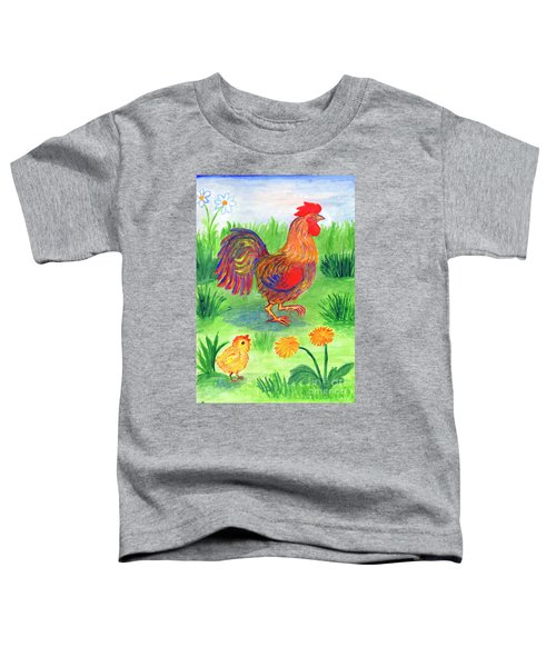 Rooster And Little Chicken Toddler T-Shirt