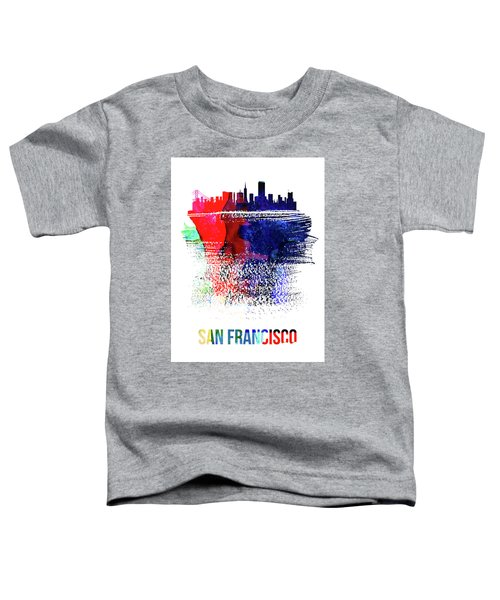 San Francisco Skyline Brush Stroke Watercolor   Toddler T-Shirt