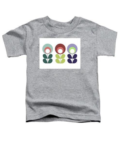 Scandinavian Teal And Blue Flowers Toddler T-Shirt