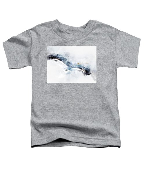 Seagull In Flight With Watercolor Effects Toddler T-Shirt