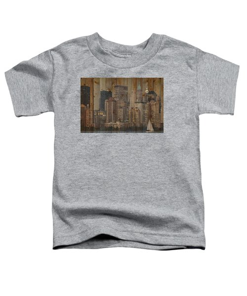 Skyline Of New York, Usa On Wood Toddler T-Shirt