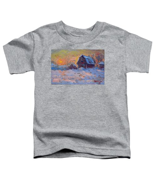 Sunset And Snow In The Farm  Toddler T-Shirt