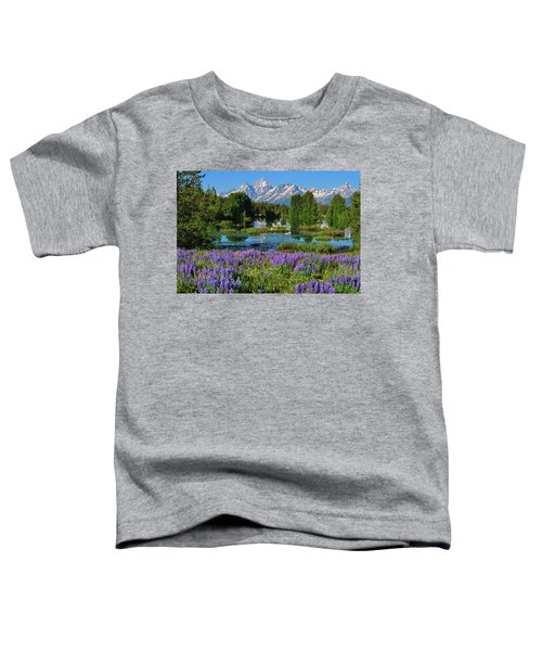 Toddler T-Shirt featuring the photograph Tetons And Lupines by Greg Norrell