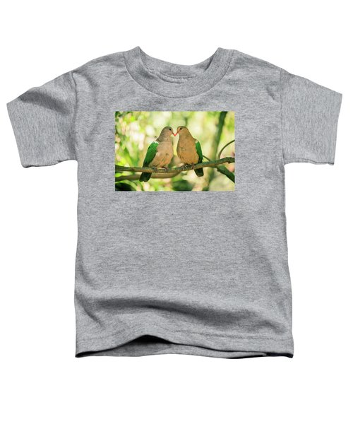 Two Colourful Doves Resting Outside On A Branch. Toddler T-Shirt