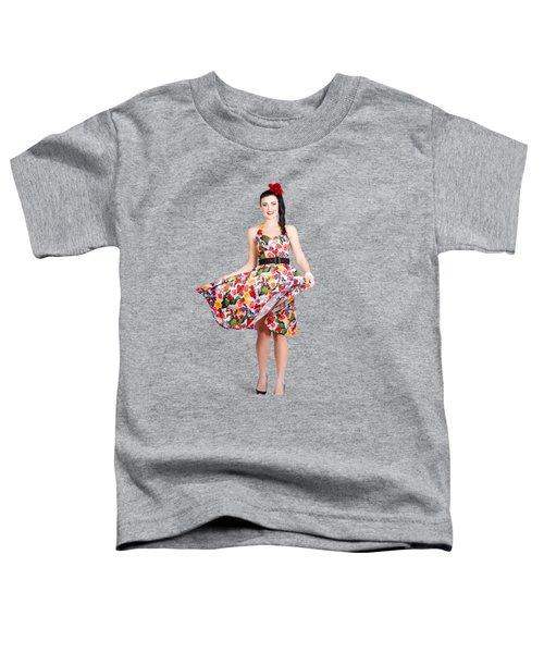 Young Beautiful Dancer Posing On Tan Background Toddler T-Shirt