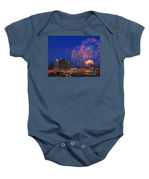 D21l-10 Red White And Boom Fireworks Display In Columbus Ohio Baby Onesie