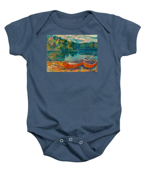 Baby Onesie featuring the painting Canoes At Mountain Lake by Kendall Kessler