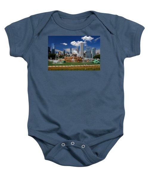Chicago Skyline Grant Park Fountain Clouds Baby Onesie
