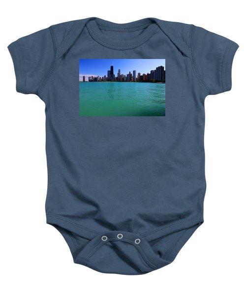 Chicago Skyline Teal Water Baby Onesie