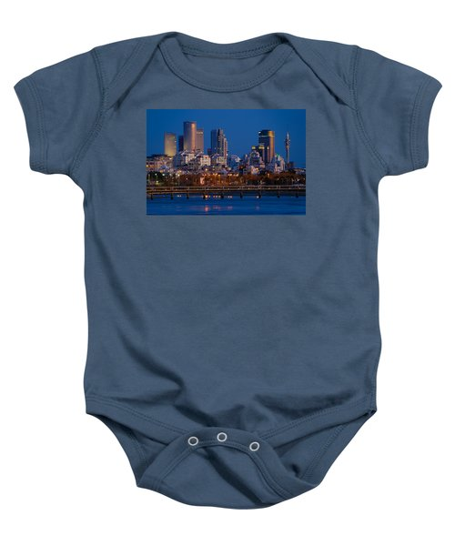 city lights and blue hour at Tel Aviv Baby Onesie