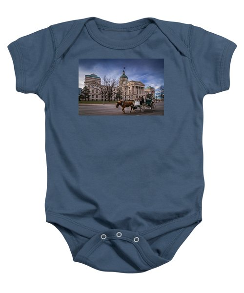 Indiana Capital Building - Front With Horse Passing Baby Onesie