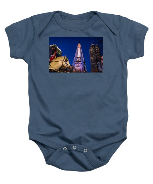 Indiana - Monument Circle With Lights And Horse Baby Onesie