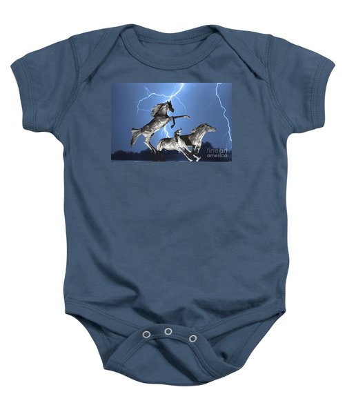 Lightning At Horse World Bw Color Print Baby Onesie by James BO  Insogna