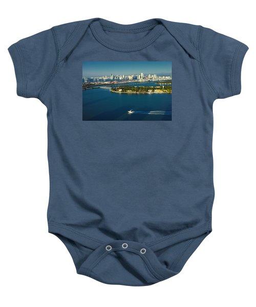 Miami City Biscayne Bay Skyline Baby Onesie