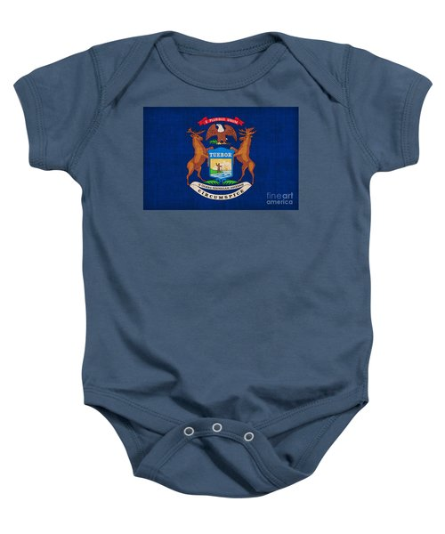 Michigan State Flag Baby Onesie by Pixel Chimp